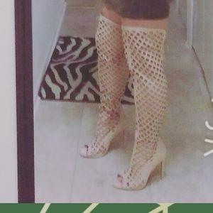 Tan Peep Toe - Knee High Heels - Size 7.5
